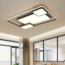 Contemporary Linear Flush Mount Light Metallic Decorative LED Ceiling Light in Warm/White