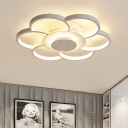 White Floral Flush Light Fixture Contemporary Metal Eye Protection LED Flush Mount Light