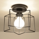 Metal Cage Semi Flush Light Fixture with Star Modern Fashion Single Light Surface Mount Ceiling Light in Black