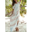 Round Neck Short Sleeve Fashion Striped Printed Split Side Maxi Shift Linen Kaftan Dress