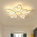 3/6 Lights Heart Design Lighting Fixture Modern Fashion Acrylic LED Ceiling Light in Warm/White/Neutral