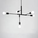 Minimalist Linear Hanging Chandelier Metal 5 Lights Art Deco Hanging Lamp in Black