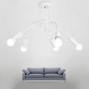 White Twist Indoor Lighting Fixture Industrial Modern Metallic 3/5/6 Lights Hanging Light