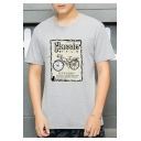 Retro Classic Bicycles Pattern Basic Short Sleeve Round Neck Casual Loose T-Shirt