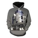 Cool 3D Star Wars Robot Printed Long Sleeve Casual Loose Grey Hoodie