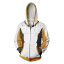 Popular Overwatch Cosplay Costume 3D Colorblocked Long Sleeve Full Zip Hoodie in White