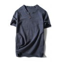 Summer Retro Linen V-Neck Short Sleeve Simple Plain Casual T-Shirt