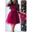 Girls Lovely Lace Round Neck Half-Sleeved Tied Waist Mini A-Line Gauze Dress for Birthday Party