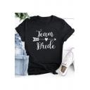 Black Heart Arrow Letter TEAM BRIDE Print Basic Short Sleeve T-Shirt