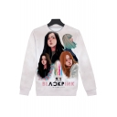Kpop Figure Printed Basic Crewneck Long Sleeve White Sweatshirt