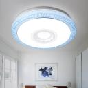 Modern Fashion Round Flush Mount Acrylic Decorative LED Ceiling Light in Blue/Gold/Pink