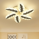 6/8 Lights Semi Flush Mount with Leaves Stylish Acrylic LED Ceiling Fixture for Sitting Room