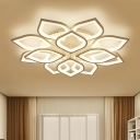 Multi Light Petal LED Ceiling Lamp Minimalist Acrylic Shade Decorative Semi Flush Mount Light in White
