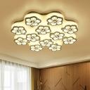 Flower Pattern LED Semi Flush Mount Simple Modern Metal Multi Light Ceiling Fixture in Warm/White/Neutral
