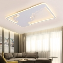White Cloud Design Flush Light with Rectangle Metal Frame Concise Stylish LED Lighting Fixture