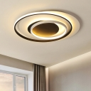 Acrylic 2 Ring Flush Light Fixture Modern Fashion LED Flush Mount in Warm/White for Hallway