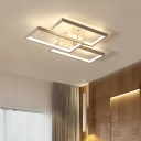 Rectangular LED Flush Mount Light Minimalist Metallic Decorative Flushmount in Warm/White