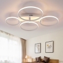 Oval Canopy LED Semi Flush Mount with Ring Acrylic Shade Nordic 4/6/9 Lights Ceiling Light in White