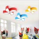 Acrylic Shade Lighting Fixture with Windmill Green/Pink/Red/Yellow LED Ceiling Lamp for Kids