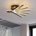 Brown Bar Semi Flush Light Fixture Contemporary Acrylic 6 Lights LED Ceiling Lamp