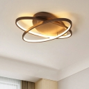 Brown Oval LED Flush Light Fixture Minimalist Metallic Ceiling Lamp for Exhibition Hall