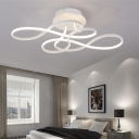 Minimalist Twist Ceiling Fixture Aluminum LED Semi Flush Mount Light in White for Living Room