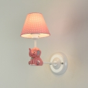 Star Design Tapered Wall Lamp with Blue/Pink Elephant Decoration Children Kids Fabric 1 Bulb Wall Light