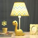 Zig Zag Pattern Desk Lamp with Yellow Cartoon Dinosaur Study Room Fabric Shade 1 Light Table Light