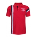 Trendy Vertical Stripe Fashion Letter Eagle Logo Athletic-Fit Golf Polo for Men
