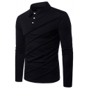 Unique Patchwork Long Sleeve Three-Button Solid Color Slim Fitted Polo Shirt for Men