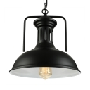 Industrial Pendant Light in Barn Style with 13''W Dome Shade, Black
