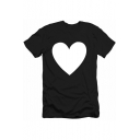 Summer Simple Heart Printed Basic Round Neck Short Sleeve Cotton Tee
