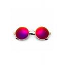 Summer Simple Cool Red Round Unisex Sunglasses