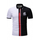 Summer New Stylish Sailing Boat Logo Chest Colorblock Short Sleeve Men Slim Fit Polo Shirt