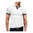Fashion Contrast Trim Deer Logo Chest Men Casual Summer Polo Shirt
