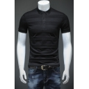 Men's Basic Stripe Patched Short Sleeve Knit Slim Fit Business Polo Shirt