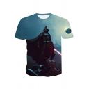 Trendy 3D Print Light Blue T-Shirt