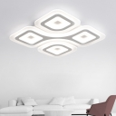 Geometric Ultrathin LED Flushmount Contemporary Acrylic Surface Mount Ceiling Light in Warm/White