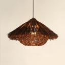 Weave Bowl Shade Pendant Light Lodge Style Single Light Indoor Lighting Fixture in Brown
