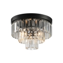 3 Lights Fountain Flush Mount Light Contemporary Decorative Crystal Ceiling Light in Black
