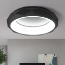 Nordic Style Circular Ring Flush Light with Geometric Pattern Acrylic LED Ceiling Lamp in Black