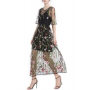 Chic Floral Embroidered Transparent Mesh Half-Sleeved Round Neck Black Maxi A-Line Dress with Liner