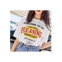 WELCOME TO MY CHARMING PLEASING CONCERT Letter Summer White T-Shirt