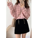 Retro Fashion Check Pattern Lapel Collar Long Sleeve Button Down Shirt