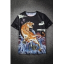 Street Fashion Tiger Printed Basic Round Neck Short Sleeve Black Casual Tee