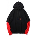 Fashion Patched Long Sleeve Colorblock Cotton Loose Drawstring Hoodie