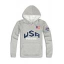 USA Basketball Flag Print Casual Loose Long Sleeve Pullover Hoodie