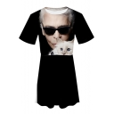 Cool 3D Portrait Printed Round Neck Short Sleeve Mini A-Line T-Shirt Dress