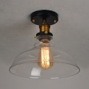 Industrial Railroad Ceiling Lamp with Amber/Clear Glass Shade Single Light Semi Flush Mount Lighting in Aged Brass