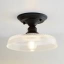 Saucer/Bowl Ceiling Fixture Modern Fashion Textured Glass Shade 1 Head Semi Flushmount in Black